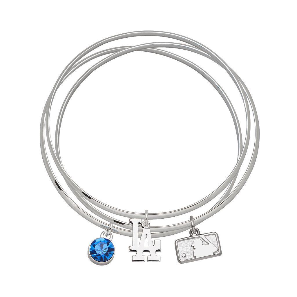 LogoArt Los Angeles Dodgers Silver Tone Crystal Charm Bangle Bracelet Set