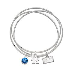 LogoArt Los Angeles Dodgers Silver Tone Crystal Charm Bangle Bracelet Set