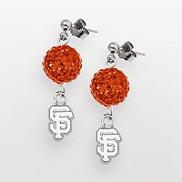 LogoArt San Francisco Giants Sterling Silver Crystal Ball Drop Earrings