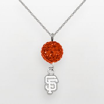 LogoArt San Francisco Giants Sterling Silver Crystal Ball Pendant
