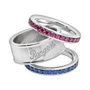 Texas Rangers Stainless Steel Crystal Stack Ring Set