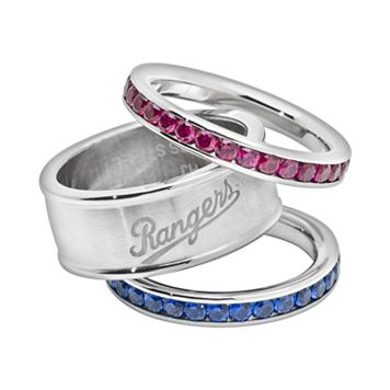 LogoArt Texas Rangers Stainless Steel Crystal Stack Ring Set
