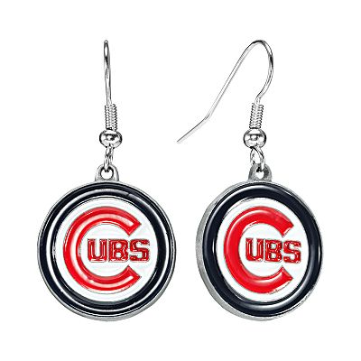 Chicago Cubs Silver Tone Logo Drop Earrings