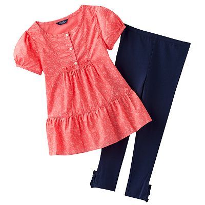 Chaps Floral Tunic and Leggings Set - Girls 4-6x
