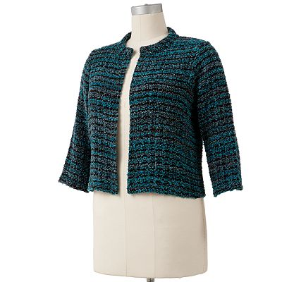 Apt. 9 Lurex Boucle Crop Cardigan - Women's Plus