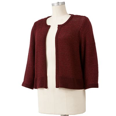 Apt. 9 Marled Lurex Crop Cardigan - Women's Plus