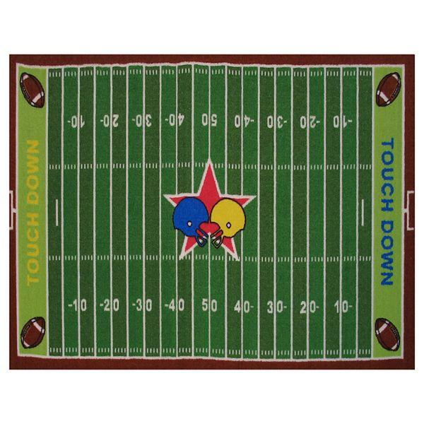 Shaggy Football Rug: Football Decor