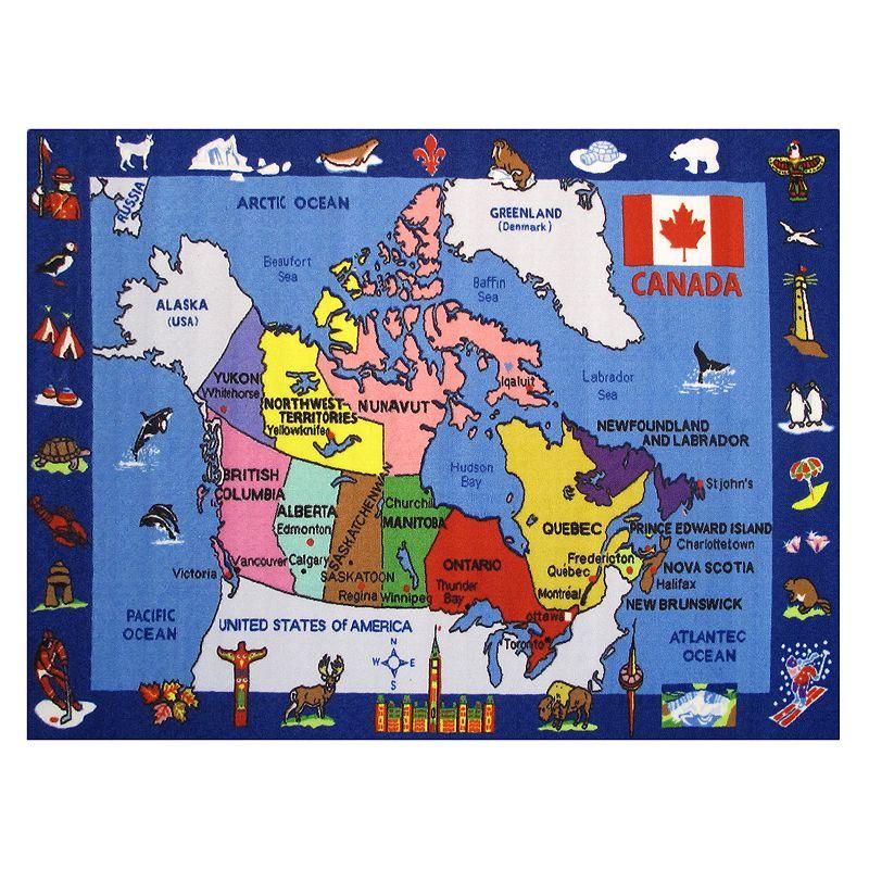 Fun Rugs Fun Time Map of Canada Rug - 5'3'' x 7'6'', 5-3X7-6