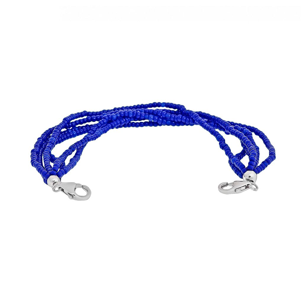 Loopz Sterling Silver Blue Seed Bead Multistrand Stretch Bracelet