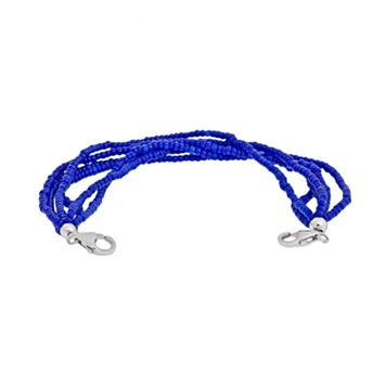Loopz Sterling Silver Blue Seed Bead Multistrand Stretch Bracelet