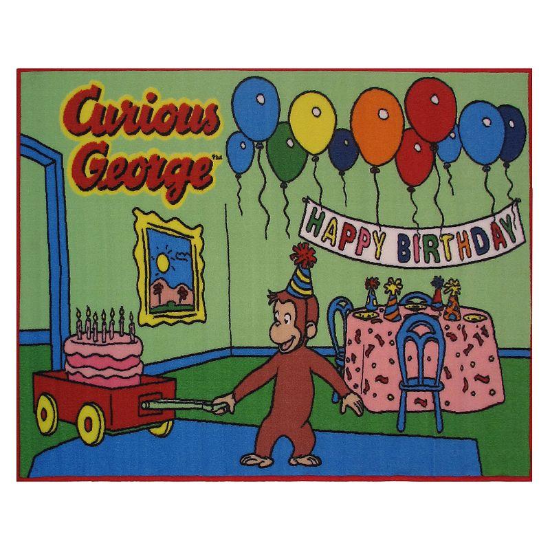 "Fun Rugs Curious George Birthday Rug - 3'3"" x 4'10"", Green"