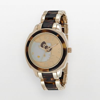 Hello Kitty Gold Tone and Tortoise Watch - Women