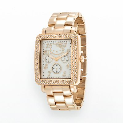 Hello Kitty Gold Tone Simulated Crystal and Mother-of-Pearl Watch - Women