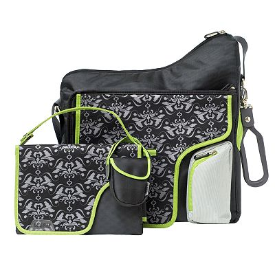 JJ Cole System 180 Damask Diaper Bag