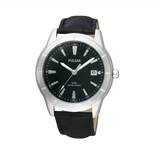 Pulsar Stainless Steel Leather Watch - PXH839X - Men