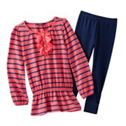 Chaps Striped Peplum Top and Leggings Set - Girls 4-6x