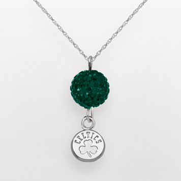 Boston Celtics Sterling Silver Crystal Ball Pendant