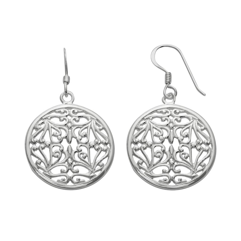 Silver Plated Filigree Disc Drop Earrings