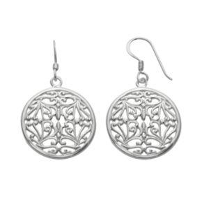 Silver Plated Filigree Disc Drop Earrings