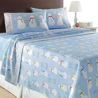 Home Classics Snowman Flannel Sheet Set - Full