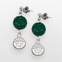 Boston Celtics Sterling Silver Crystal Ball Drop Earrings