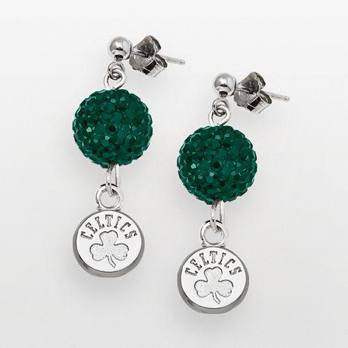 Boston Celtics Sterling Silver Crystal Ball Drop Earrings