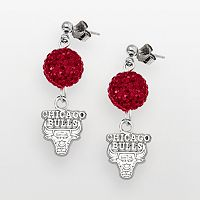 Chicago Bulls Sterling Silver Crystal Ball Drop Earrings