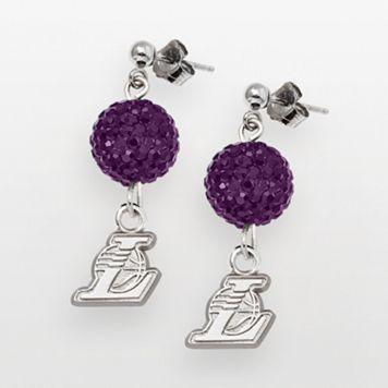 Los Angeles Lakers Sterling Silver Crystal Ball Drop Earrings