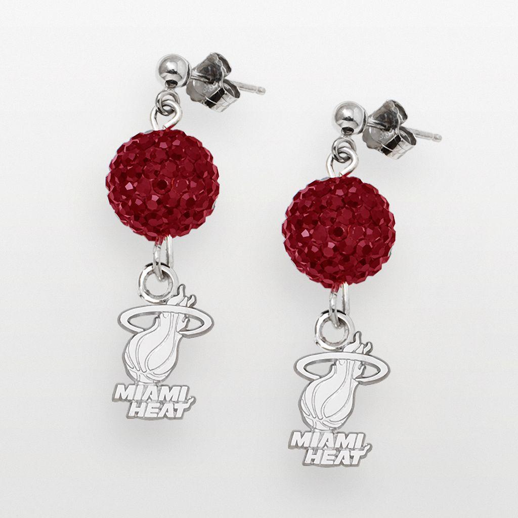 Miami Heat Sterling Silver Crystal Ball Drop Earrings