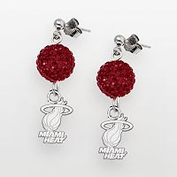 Miami Heat Sterling Silver Crystal Ball Drop Earrings