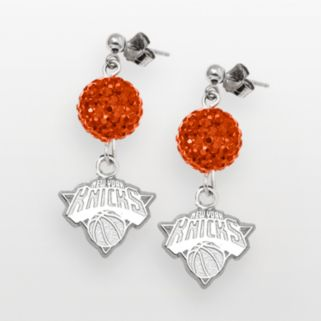 New York Knicks Sterling Silver Crystal Ball Drop Earrings