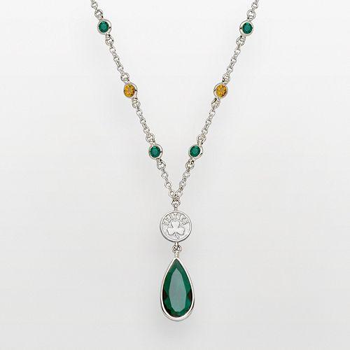 Boston Celtics Silver Tone Crystal Y Necklace