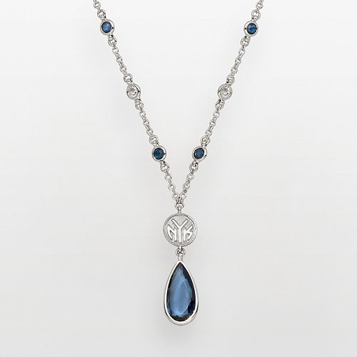 New York Knicks Silver Tone Crystal Y Necklace
