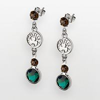 Boston Celtics Silver Tone Crystal Drop Earrings