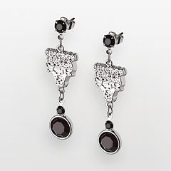 Chicago Bulls Silver Tone Crystal Drop Earrings
