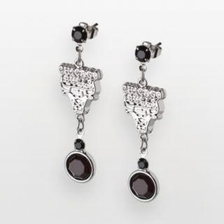 Chicago Bulls Silver Tone Crystal Drop Earrings