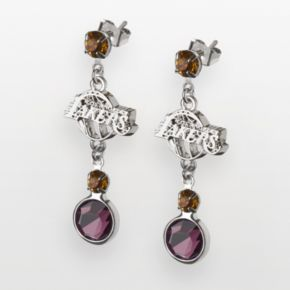Los Angeles Lakers Silver Tone Crystal Drop Earrings
