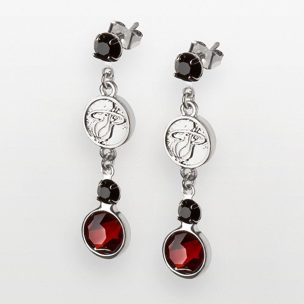 Miami Heat Silver Tone Crystal Drop Earrings