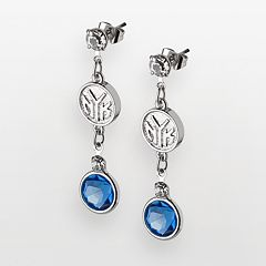 New York Knicks Silver Tone Crystal Drop Earrings