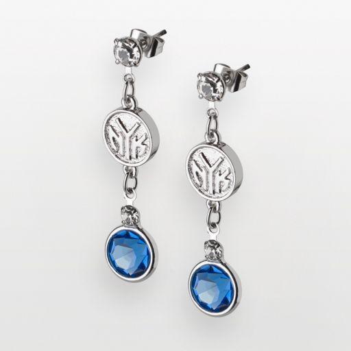 New York Knicks Silver Tone Crystal Drop Earrings