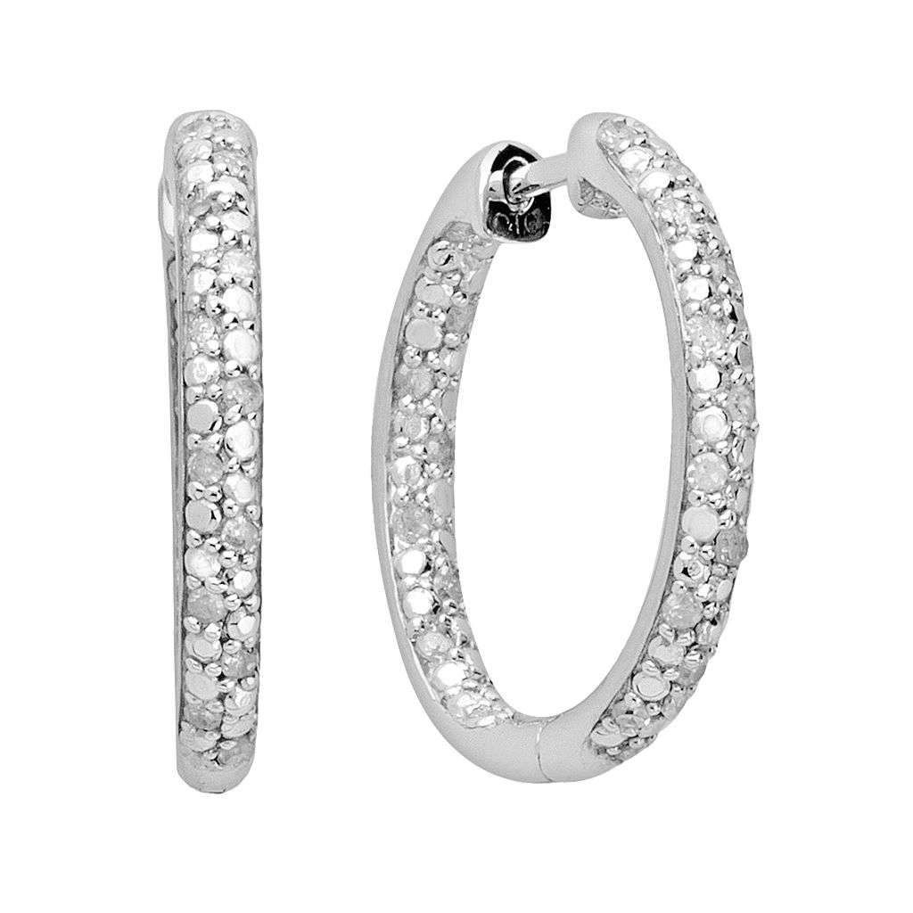 Sterling Silver 1/4-ct. T.W. Diamond Hoop Earrings