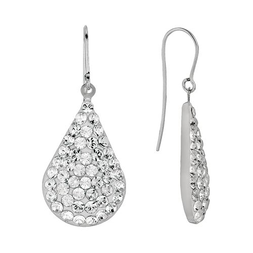 Silver on the Rocks Sterling Silver Crystal Teardrop Earrings - Made with Swarovski Crystals