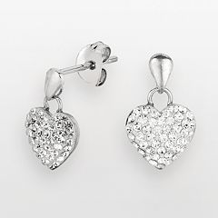 Silver on the Rocks Sterling Silver Crystal Heart Drop Earrings - Made with Swarovski Crystals