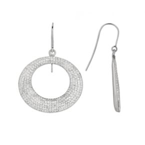 Silver on the Rocks Sterling Silver Crystal Hoop Drop Earrings - Made with Swarovski Crystals