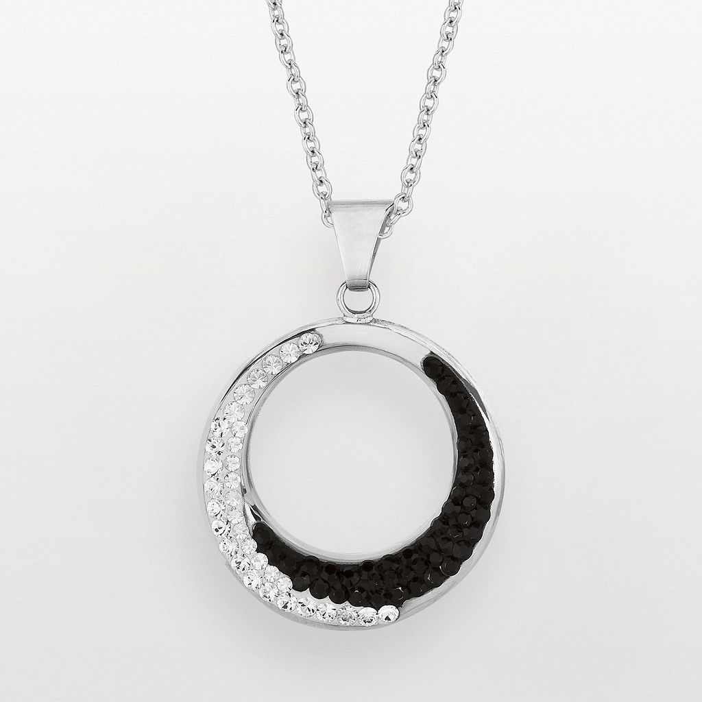 Silver on the Rocks Sterling Silver Black & White Crystal Circle Pendant - Made with Swarovski Crystals