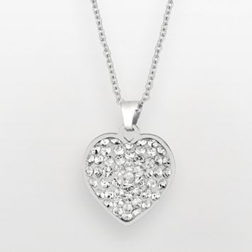Silver on the Rocks Sterling Silver Crystal Heart Pendant - Made with Swarovski Crystals