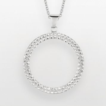 Silver on the Rocks Sterling Silver Crystal Circle Pendant - Made with Swarovski Crystals