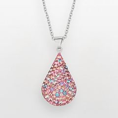 Silver on the Rocks Sterling Silver Crystal Teardrop Pendant - Made with Swarovski Crystals