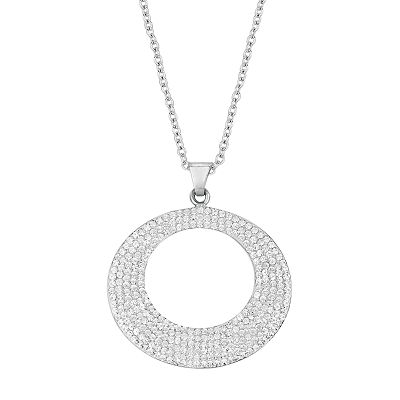 Silver on the Rocks Sterling Silver Crystal Circle Pendant - Made with Swarovski Elements