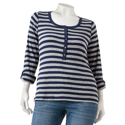 SO Striped Henley - Juniors' Plus
